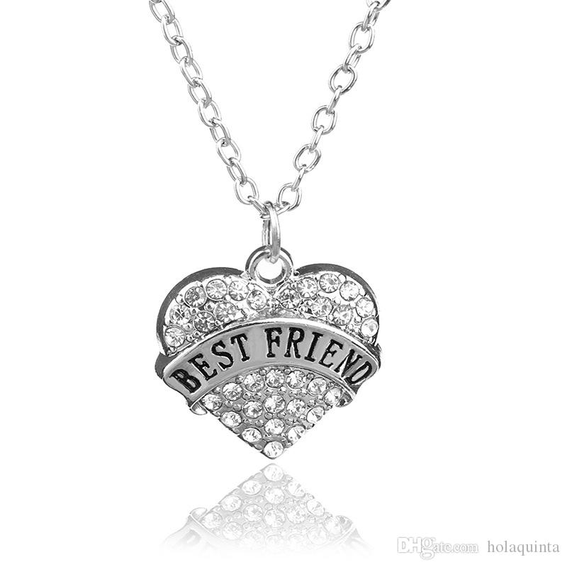 Fête des mères meilleur cadeau maman fille soeur grand-mère nana tante famille collier cristal coeur pendentif strass femmes bijoux