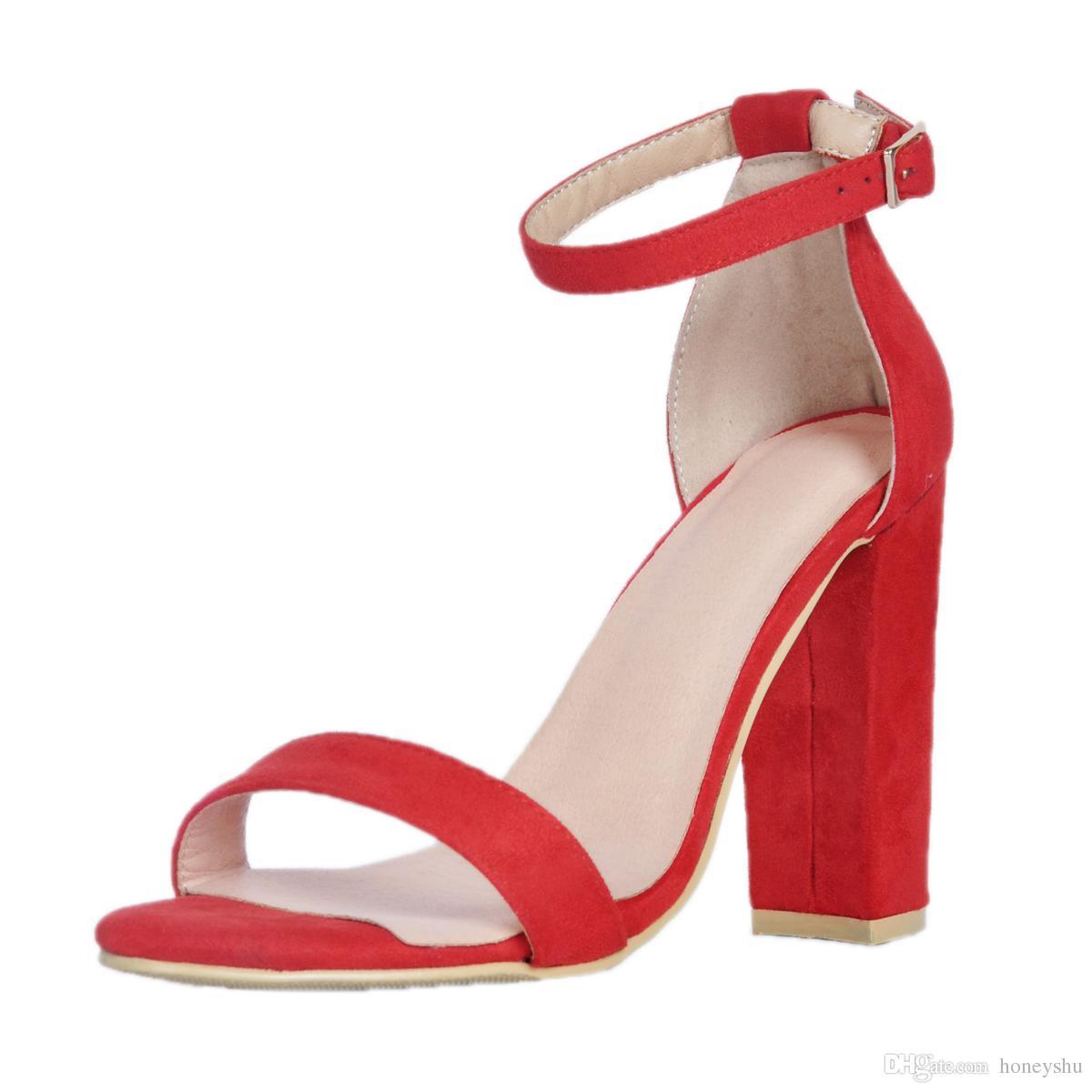Kolnoo ручной работы женщин толстый каблук открытым носком сандалии лодыжки ремень крышка-назад ребенок-замша платье летом Сексуальная мода обувь XD343