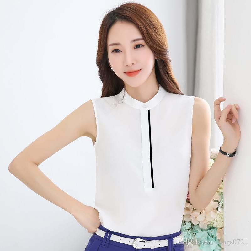 31e6b5f501d 2019 Sleeveless Office Ladies Chiffon Blouse 2017 New Summer Korean Stand  Collar White Shirt Women Plus Size Tops Camisas From Kings0721
