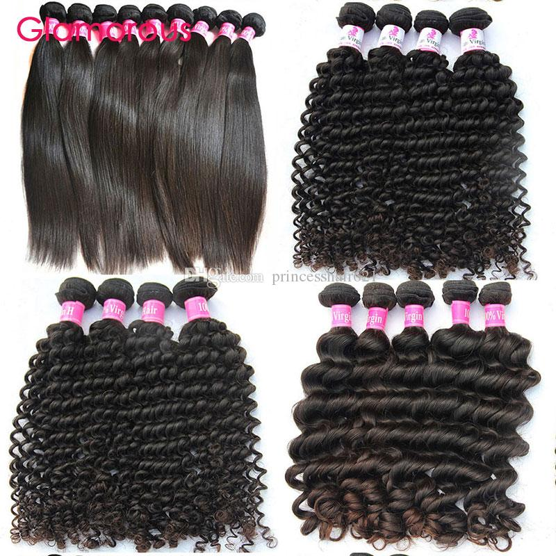 Glamorous Brazilian Hair Wefts Natural Color 6 Bundles Natural Wave