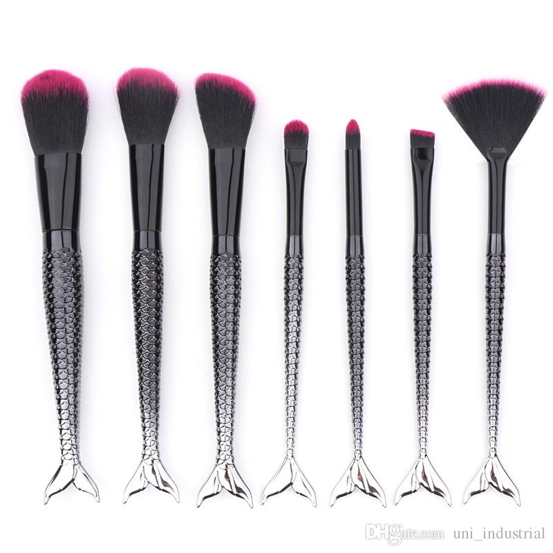 black unicorn makeup brushes. pink black mermaid makeup brush unicorn oval brushes gradient pro powder cream blush fish tail elf cosmetic u