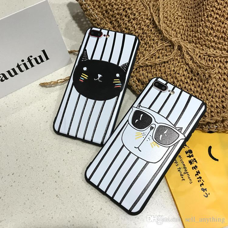 For Iphone 7 Phone Cases Black And White Stripes Glasses Dog Big Face Cat TPU Silicone Soft Case For Iphone 6s 6 Plus