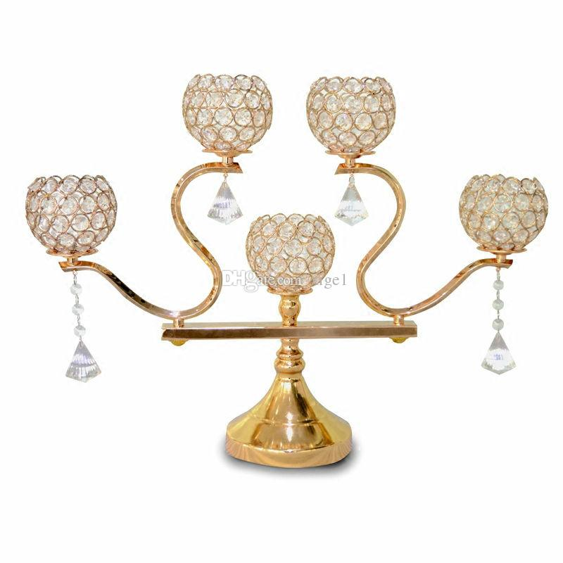 Wholesale 5 Head Vintage Candlestick Gold/Silver Plated Crystal Table Candelabras Candle Holiday Home Hotel Wedding Decoration