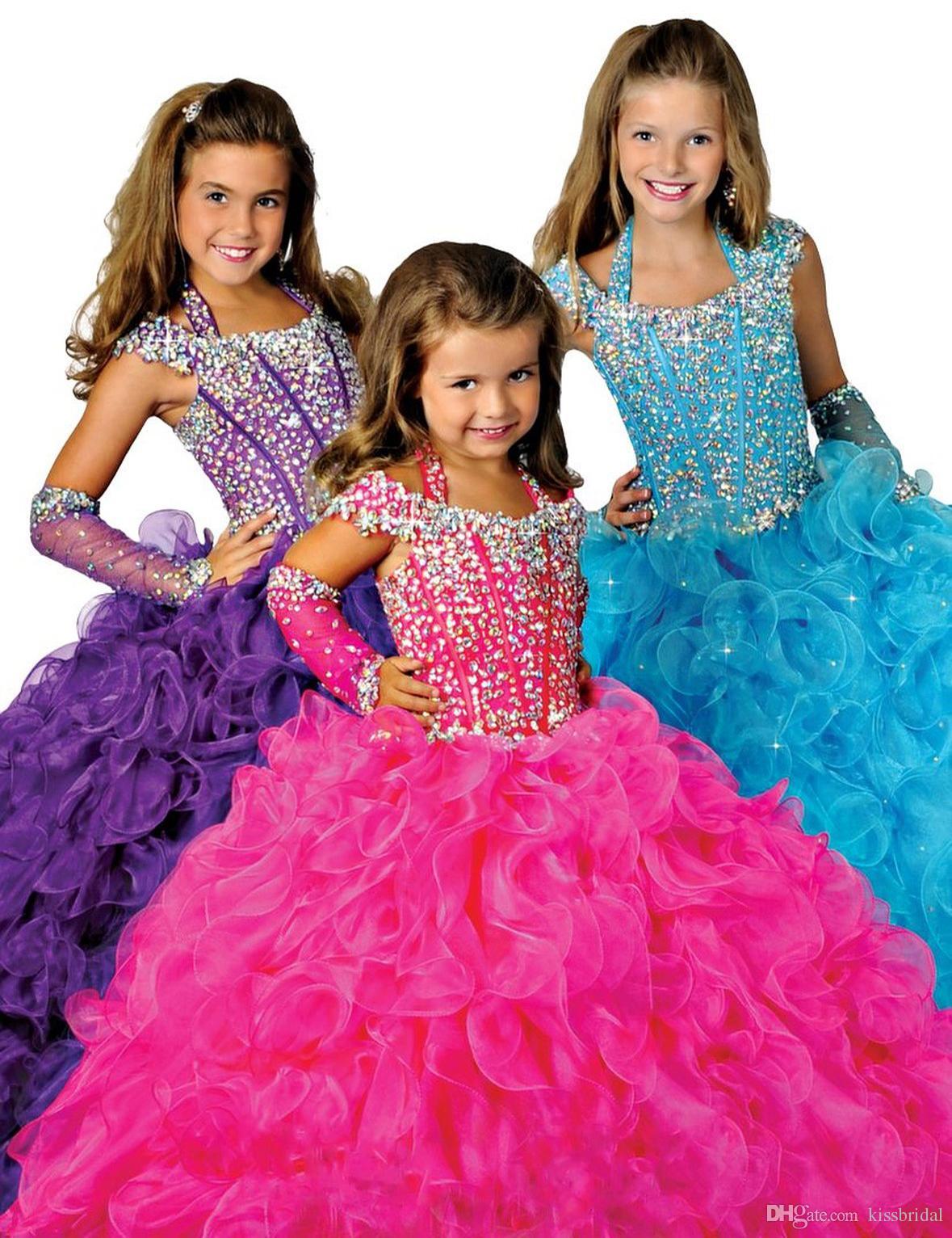 Gorgeous Purple Ball Gown Pageant Gowns for Girls Beaded Halter Neck Lace-up Back Organza Ruffles Golvlängd Blomma Flickor Klänningar