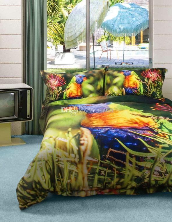 Kundenspezifische Zeichnungen können angepasst werden 3D bunte Papagei Digitaldruck Baumwollsatin 4-teilige Bettbezug Sets Bettwäsche-Sets