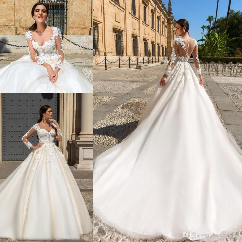 6113e3f4385 Discount Milla Nova 2017 New Wedding Dresses Illusion Sheer Long Sleeves  Lace Appliques 3D Floral Flowers A Line Blush Tulle Plus Size Bridal Gowns  ...
