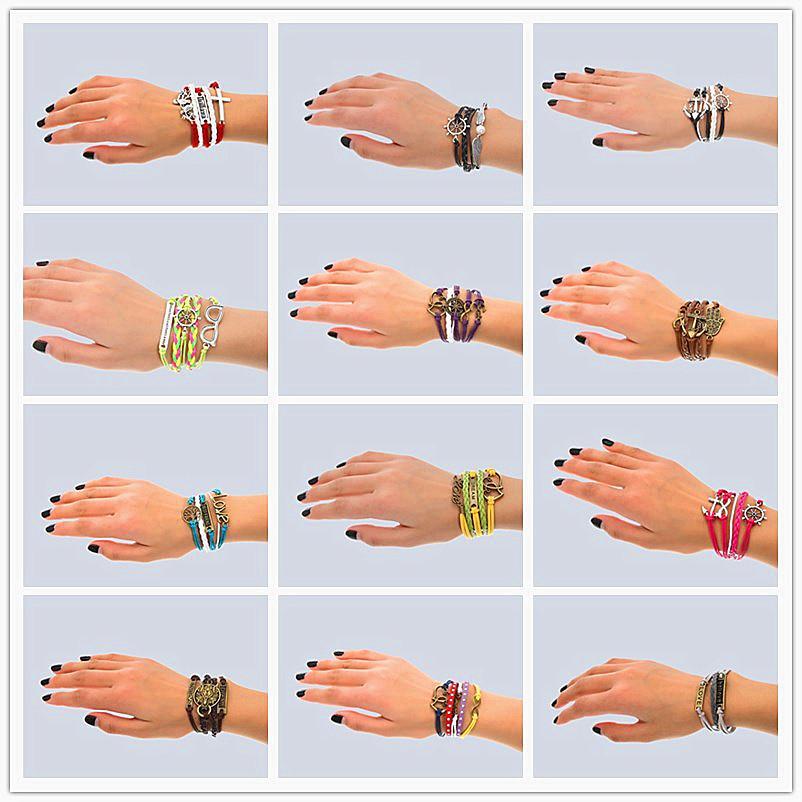 Hand Made 30 Mix-Art-Infinity-Leder-Legierung Art und Weise Stulpe-Armband-Charme-Armband-Weinlese-Zusatz-Liebhaber-Geschenke