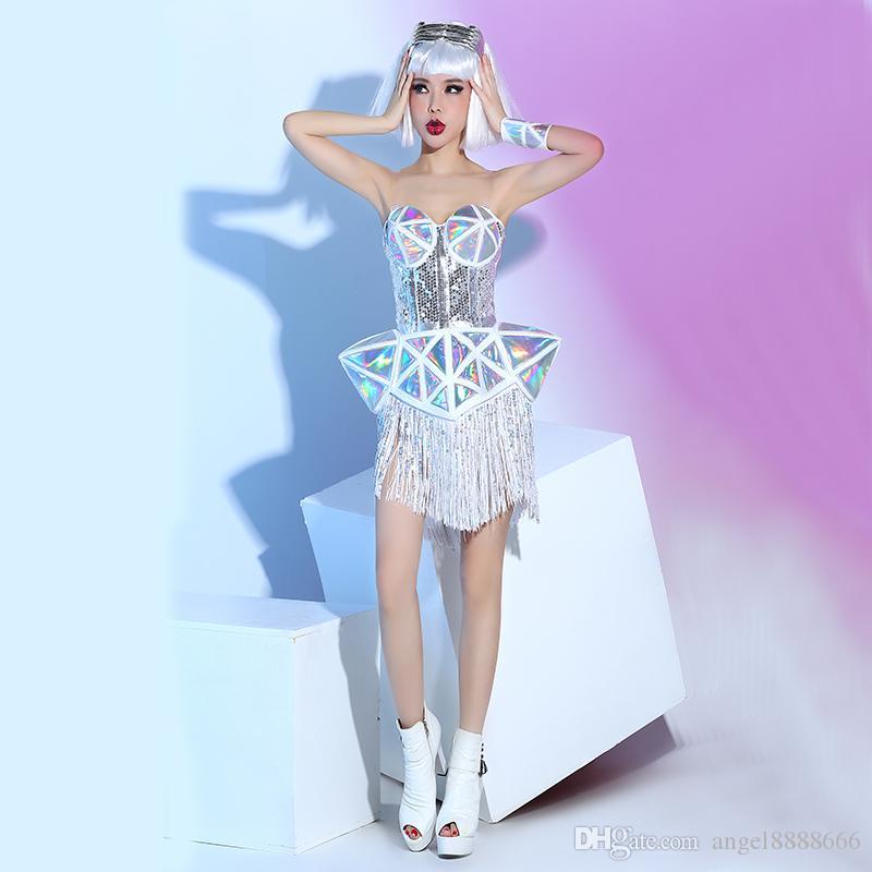 Yeni gece kulübü bar kadın sahne kostümleri beyaz deri sequins püsküller üst etek 2 parça setleri DJ DS şarkıcı kurşun dans performansı sahne giymek