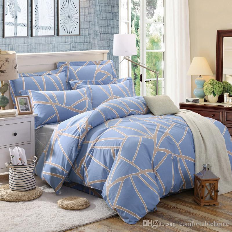 Marvelous Bedding Striped Bed Sheets 2.5m Striped Plaid Bedspread Set 4 Home Textiles  Printed Spring Summer Personality Fashion Cotton Cheap Full Size Comforter  Sets ...
