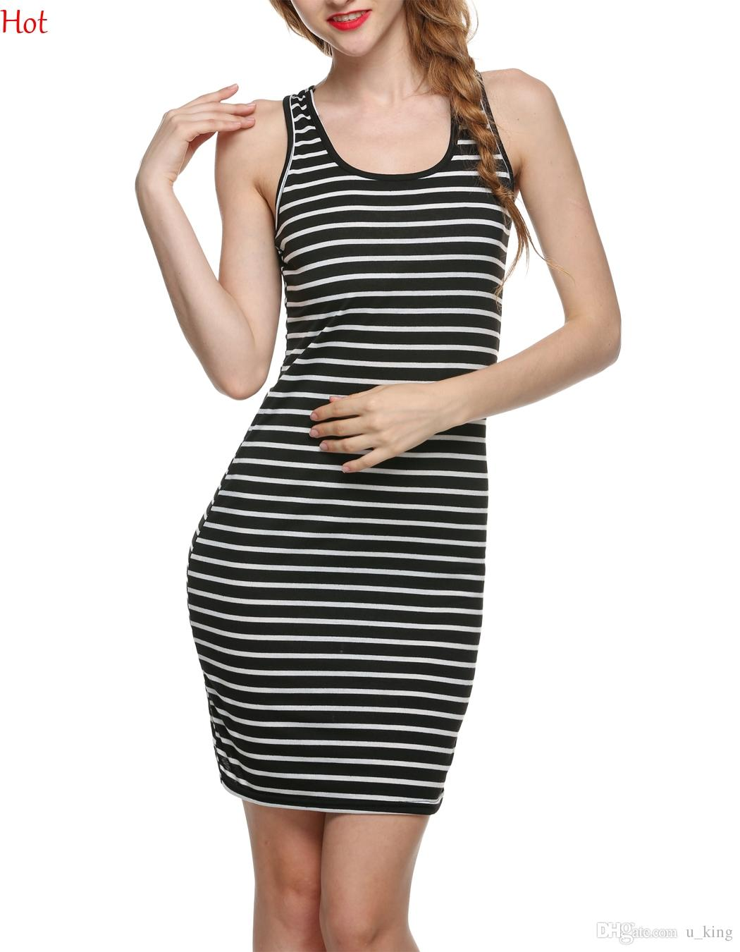4d660c12979 2016 Women Clothes Striped Dresses Summer Fashion Sleeveless Bodycon Casual  Slim Fitted Tank Dress Black Red Blue Cotton Mini Dress SV025054 Dresses  For ...