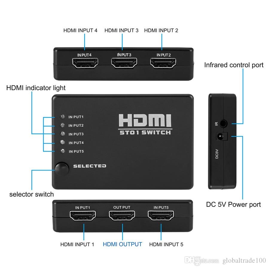 5 In 1 Out HDMI Switcher HD Video Switch Splitter Adapter With USB Power Cable For HDTV XBox DVD Projector 3D 1080P
