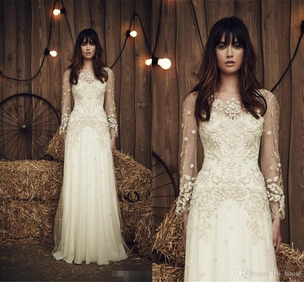 Discount 2017 New Jenny Packham Wedding Dresses Crew Neck Long Sleeve Beads Bridal Gowns Sweep Train Chiffon Dress Custom Made Couture