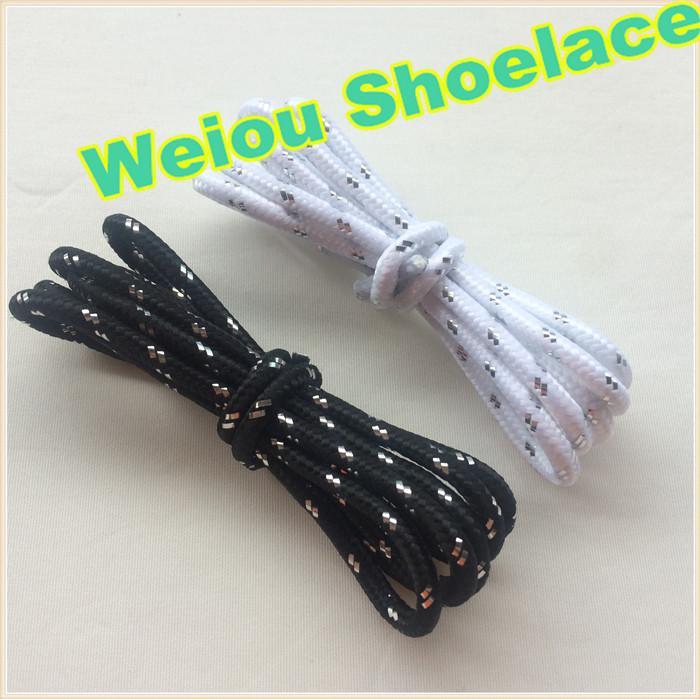 Weiou Sports Weiß Schwarz Silber Schnürsenkel Runde Seilkügelchen für Klettern Casual Schuhe 120cm Mode Unisex Bootlace