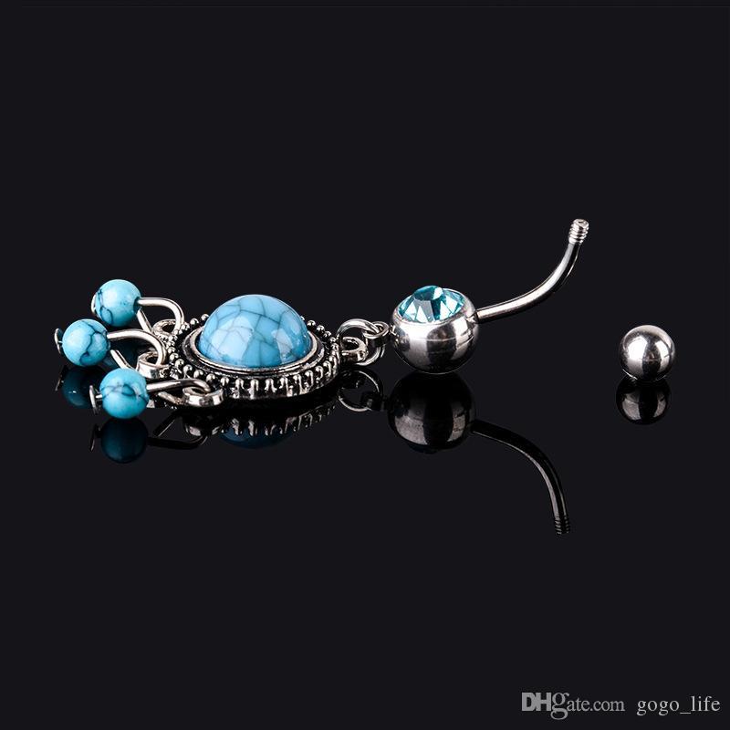 Frete grátis new arrival Charme atacado dangle turquoises piercing no umbigo aço Inoxidável anel umbigo