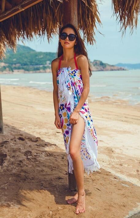 DHL Praia Toalha De Banho Rodada Cobertor de Praia com Borla Azul Floral Esteira de piquenique para Atividade Ao Ar Livre Yoga Sunshine