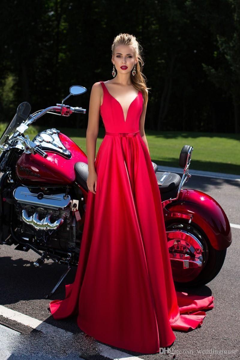 2K19 New Red See Through Lace Back Prom Dresses Sweetheart A-line Vestidos De Fiesta Evening Party Gowns with Sweep Train
