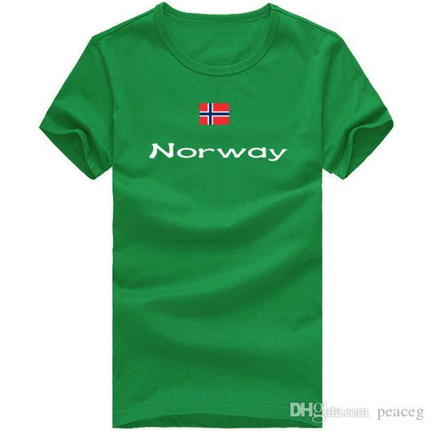 a1f7d3da860da Compre Camisa De Noruega T Cultura Física Esporte Manga Curta Contingente  Treinamento Tees Bandeira Nação Roupas Unisex Algodão Tshirt De Peaceg