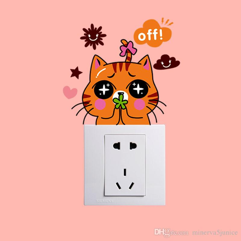 2017 DIY Funny Cute color Switch Decal Wallpaper Switch Sticker Home Decoration Bedroom Kids Room Light Parlor Decor
