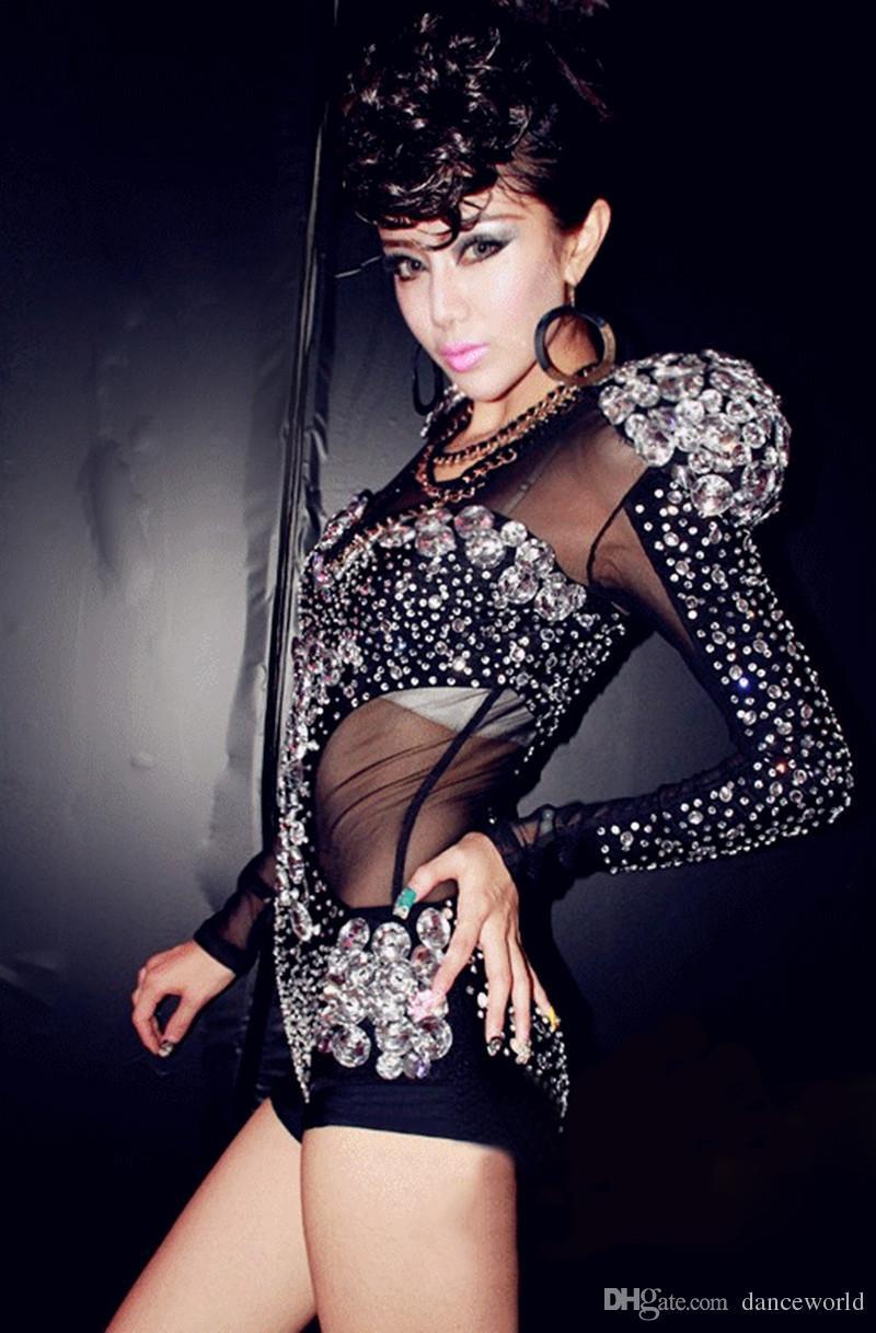Rhinestone Dekor Sahne Giyim Uzun Kollu Tulumlar Playsuit Caz Dans Giyim Kostümleri Gazlı Bez See-through DJ Songbird Seksi Tulum Tulum