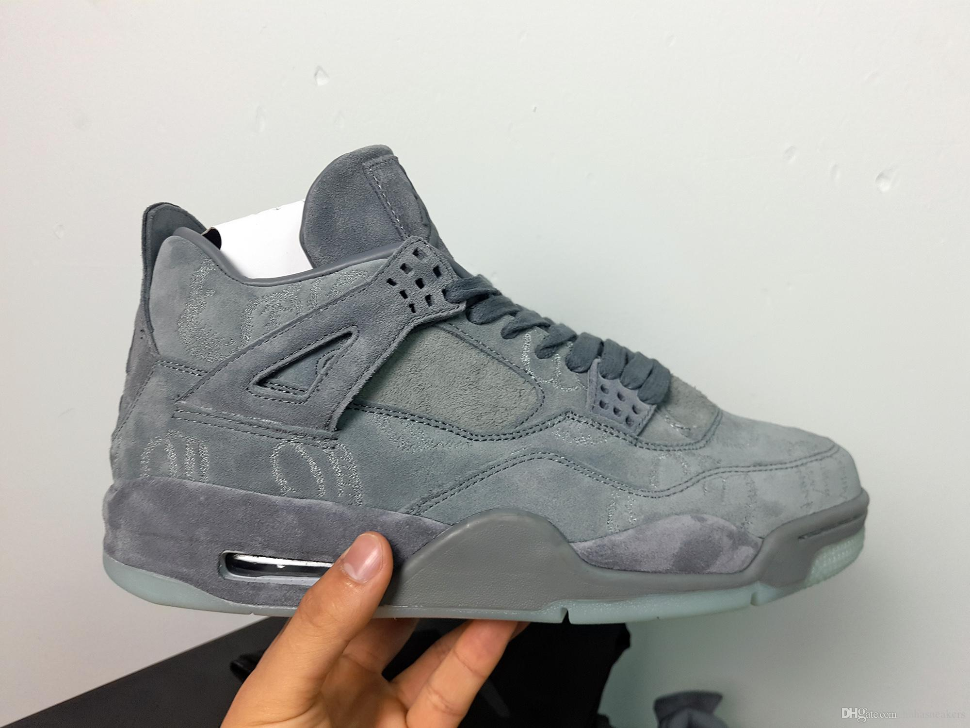 2018 Kaws X Air 4 Retro Xx Dust Bag Kaws Cool Grey White Glow Suede Best  Quality White Blue Black Wholesale Basketball Shoes Men With Box From  Hahasneakers, ...