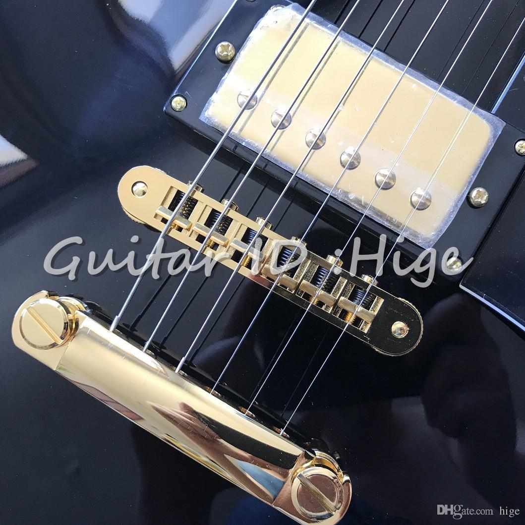 nuovo arrivo Custom Shop di alta qualità Chitarra elettrica di colore nero con tastiera EBONY e sintonizzare il matic bridge gutiarra