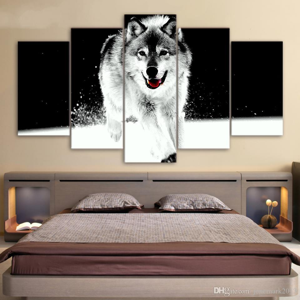 Framed HD Printed The Wolf running in the snow Painting Canvas Print room decor print poster picture canvas