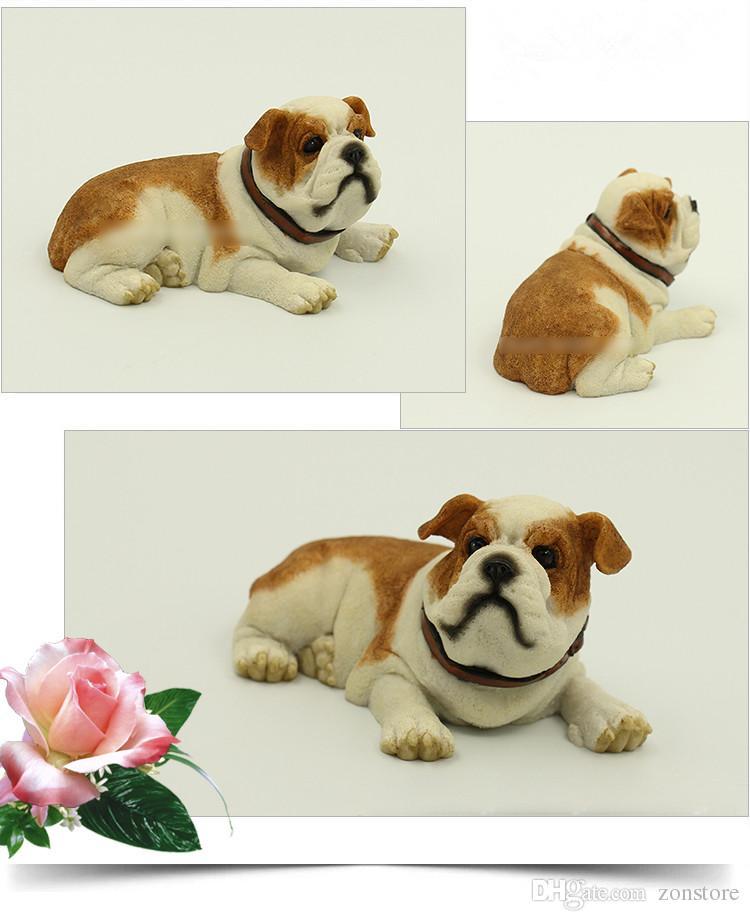 عالية الجودة لطيف الكذب الانجليزية بلدغ تمثال - لطيف الكذب جرو هدية لمحبي الكلاب 5.6 بوصة