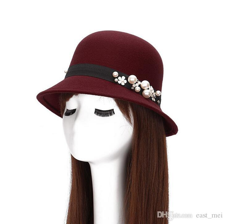 Autumn and winter new pearl flower lady imitation wool woolen hat trend dome hat ceremony cap EMB032