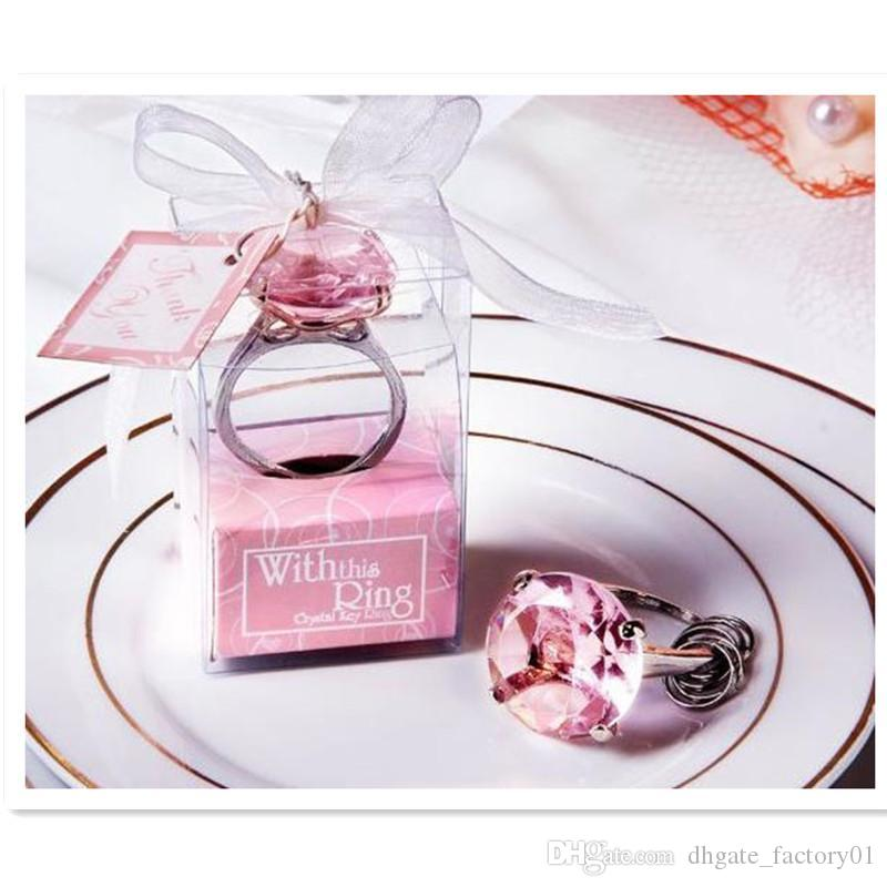 Cheap Home Party Favors Wedding Gifts Diamond Ring Shape Keychain