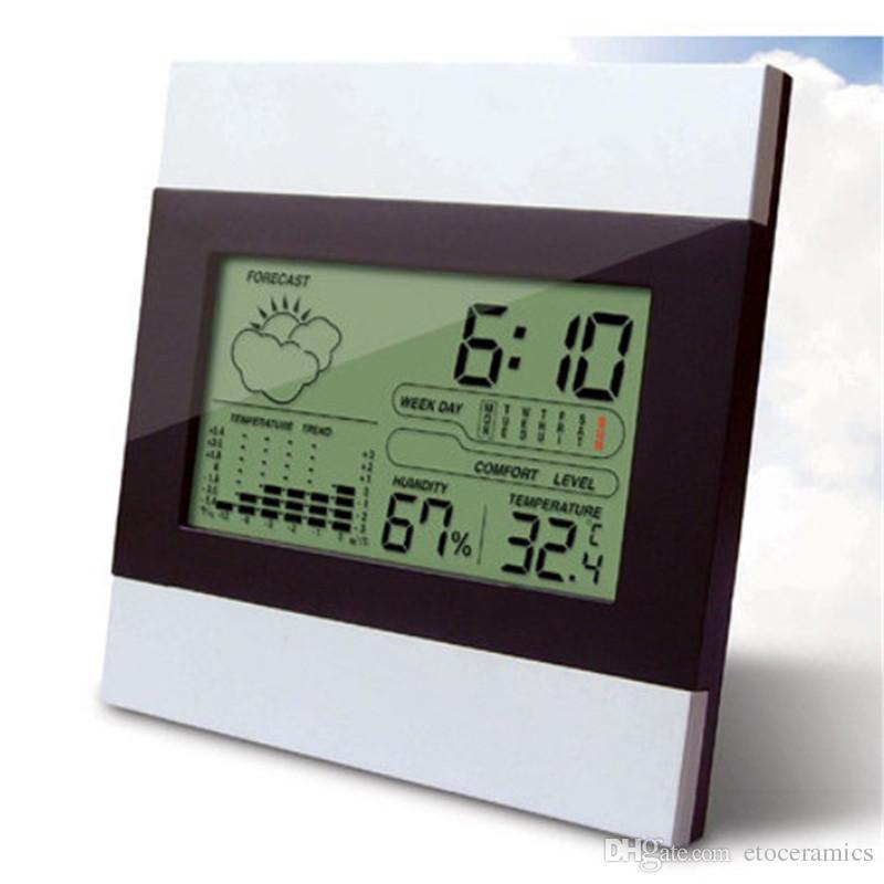 Digitale LCD-batterij Thermometer Tijd Alarm Weer Hygrometer Klok Huis Groot scherm Elektronische vochtigheid Thermometer Kerstcadeau