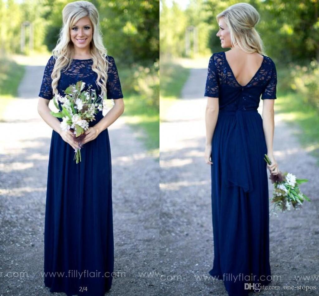 Royal blue long country bridesmaid dresses lace scoop neckline royal blue long country bridesmaid dresses lace scoop neckline short sleeves maid of honor gowns chiffon cheap wedding guest dress cps572 dark grey ombrellifo Images