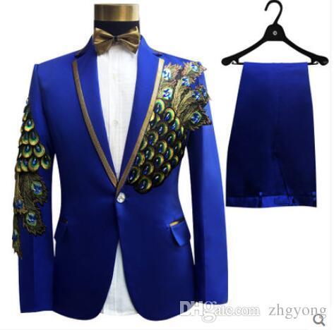 partido chaqueta + pantalones + pajarita + correa de la moda de los hombres trajes de novio baile rojo de la boda vestido de flores trajes delgados blazers azul negro formal