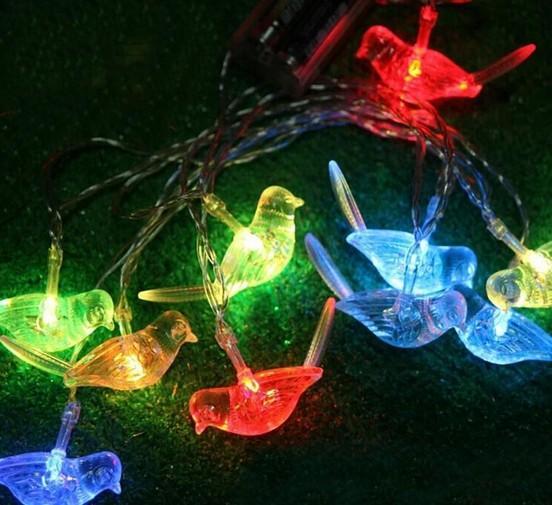 2.5 m 10LED Pássaro luzes solares Animais LEVOU pequena noite lâmpada crianças decoração do quarto de Natal jardim luz decorativa corda