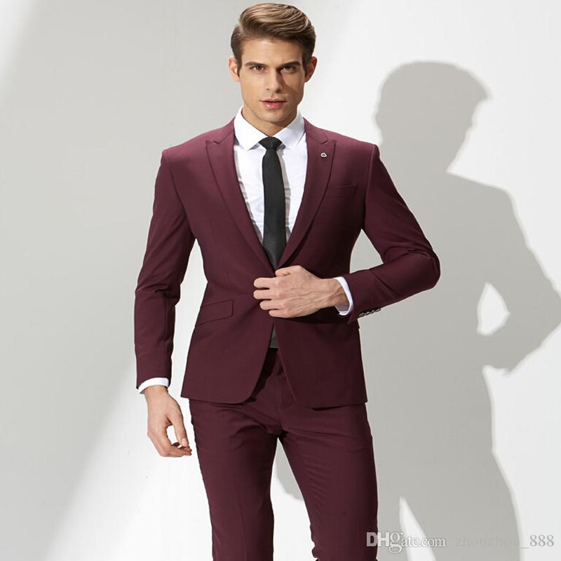 2018 Red Wine Groom Suit Men\'S Formal Fashion Simple One Button ...