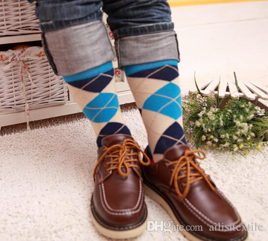 Man Business Socks With Diamond Pattern, Man Happy Socks, Fashion Colorful Street Socks, Make Your Own Socks