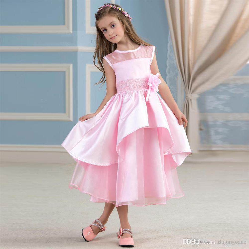 Compre Encantadores Vestidos De Niña De Flores De Color Rosa Jewel ...
