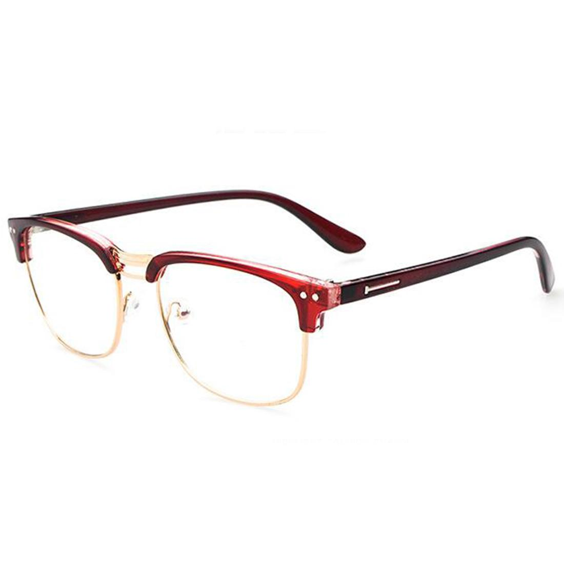 a0adcf665ac Wholesale- Fashion Metal Half Frame Glasses Frame Retro Women Men ...