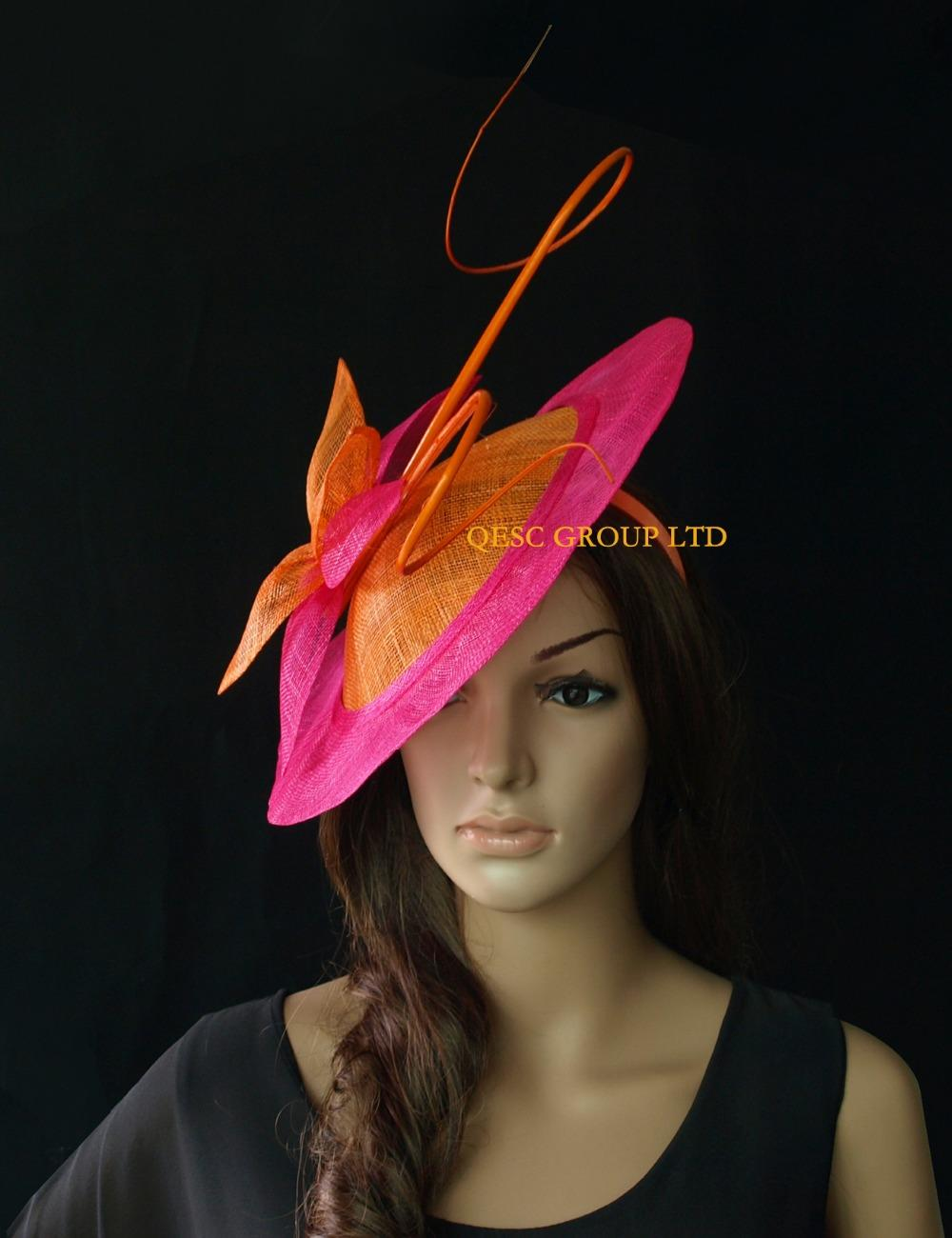 Hot pink fuchsia orange BIG saucer Sinamay Fascinator Hat with long otrich spine for wedding,kentucky derby.