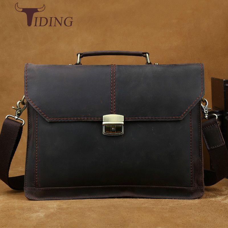 be0f88333fcc Wholesale- Luxury Vintage Handmade Leather Messenger Laptop Bag Business  Crazy Horse Satchel Briefcase Men's Bags Shoulder Crossbody Bag