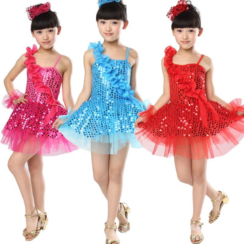 e2424024bf5f 2019 New Girls Ballet Latin Jazz Dancewear Dress Kids Ballroom ...