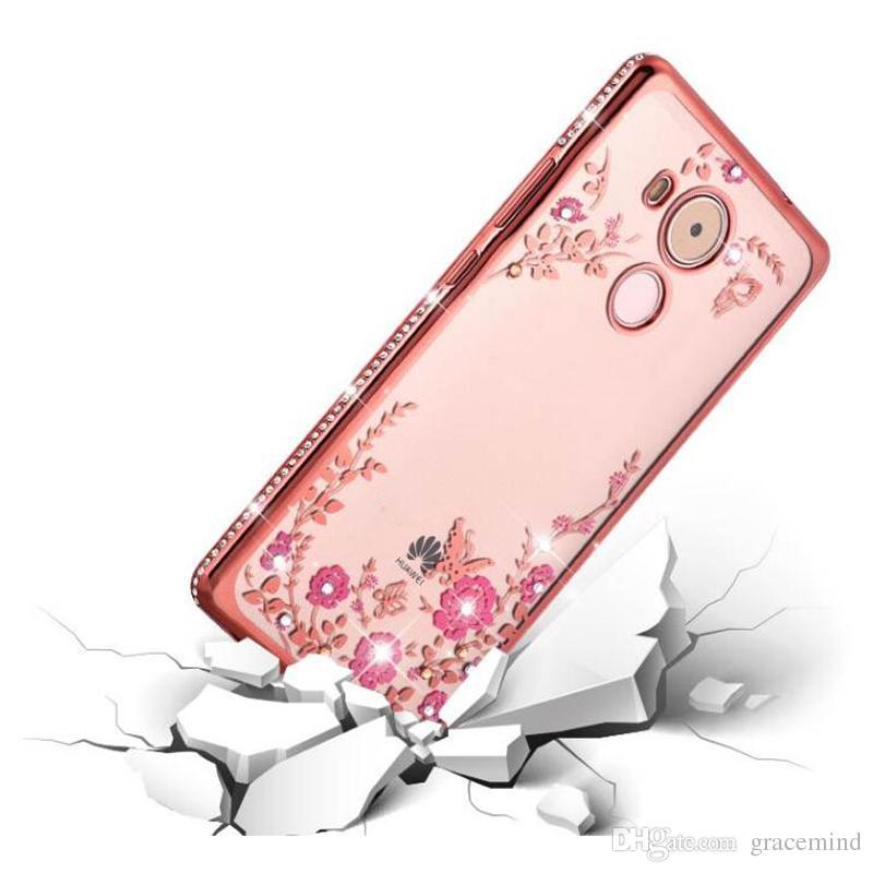 Huawei Onur için V9 6X5 S Gizli Bahçe Elektrolizle Çiçek Elmas Desen Durumda Bling Yumuşak TPU Şeffaf Kapak standı