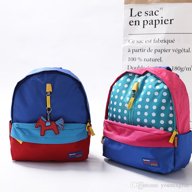 patchwork nylon dot children school bags kindergarten girls boys kid