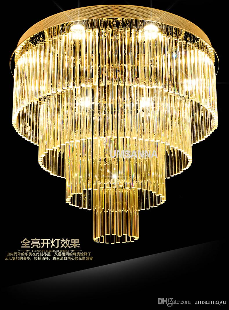 LED Modern Chandelier Lights Fixture K9 Crystal Chandeliers Multi Circles Home Indoor Lighting Hotel Hall Lobby Parlor Crystal Hanging Lamps