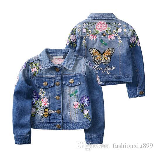 f0c29a272 Girls Denim Jackets Coats Fashion Children Outwear Embroidery ...