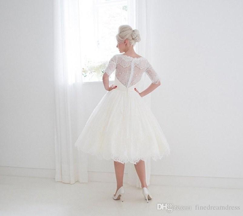 Vintage medias mangas de encaje apliques de longitud de té Vestidos de novia Cubierta de cinta Botón Volver Vestido de fiesta Estilo de 1950 Vestidos de novia cortos
