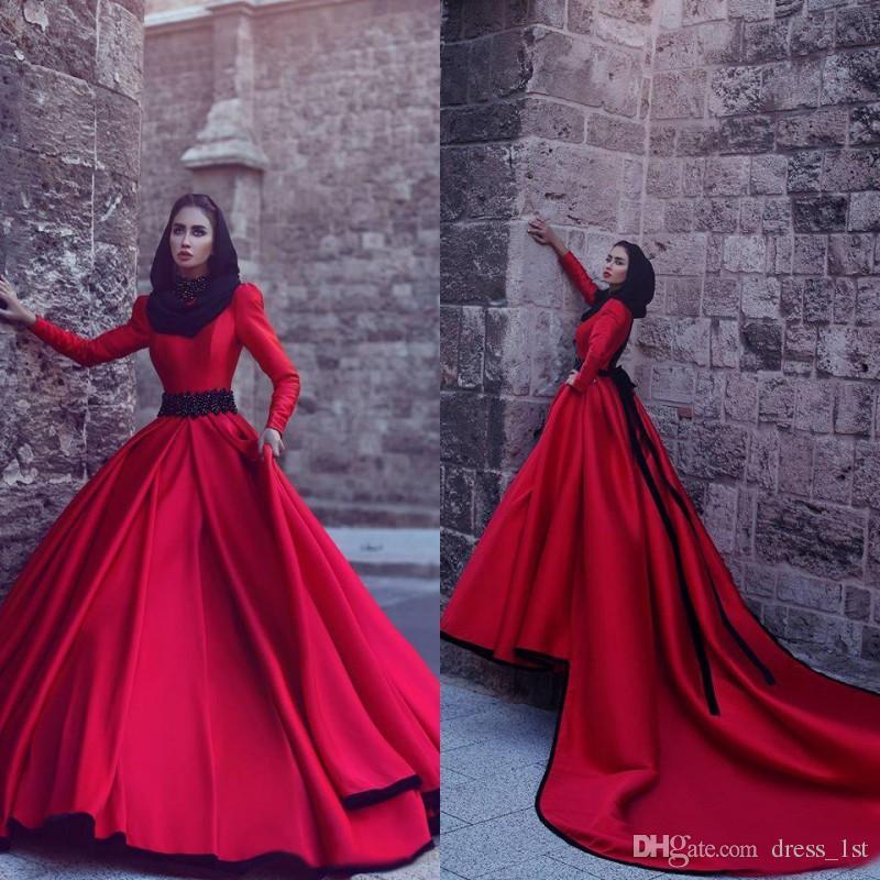 Discount Muslim Wedding Dresses 2017 New Red High Neck Long Sleeve