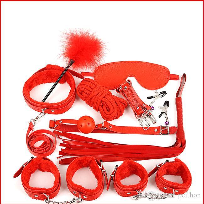 SM paixão alternativa brinquedos para adultos, algemas de couro, prazer de pelúcia, conjunto de dez peças