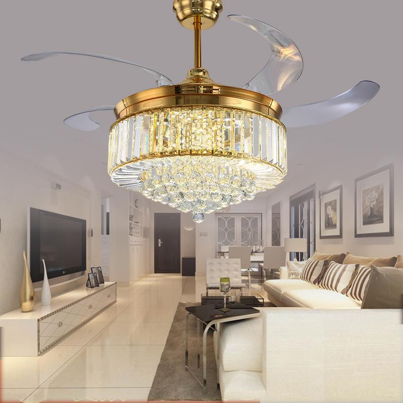 High Quality Ceiling Fan With Lights For Living Room 52: 2019 52 Inch Gold Modern LED Crystal Ceiling Fans With