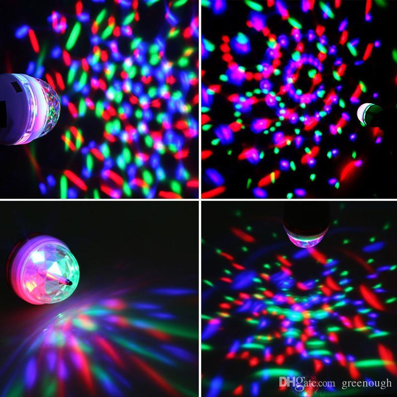Magic RGB Full Color 3W E27 LED Bulb Crystal Auto Rotating Stage Effect DJ Light Bulb Mini Laser Stage Light Projector DISCO PARTY KTV