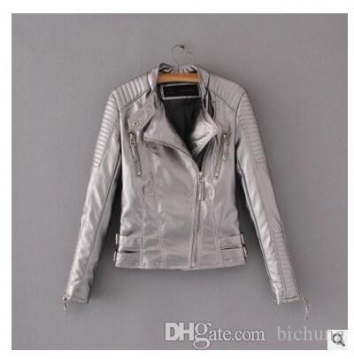 Deri Ceket Kadın Ceketler Coat İnce Biker Motosiklet Yumuşak Fermuar kız Deri Jaquetas De Couro Feminina kadın giyim